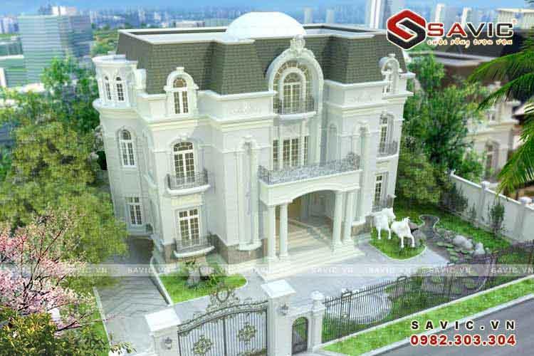 Biệt thự 3 tầng đẹp phong cách cổ điển đẹp lộng lẫy BT1513