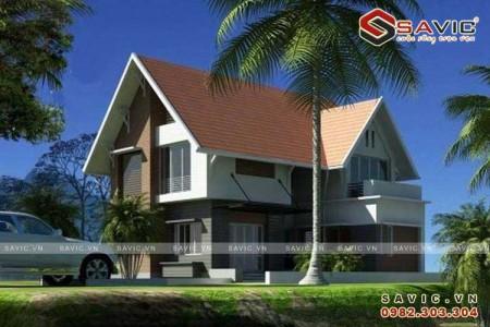Mẫu nhà đẹp 2 tầng hiện đại chi tiết mái ấn tượng nổi bật BT1542