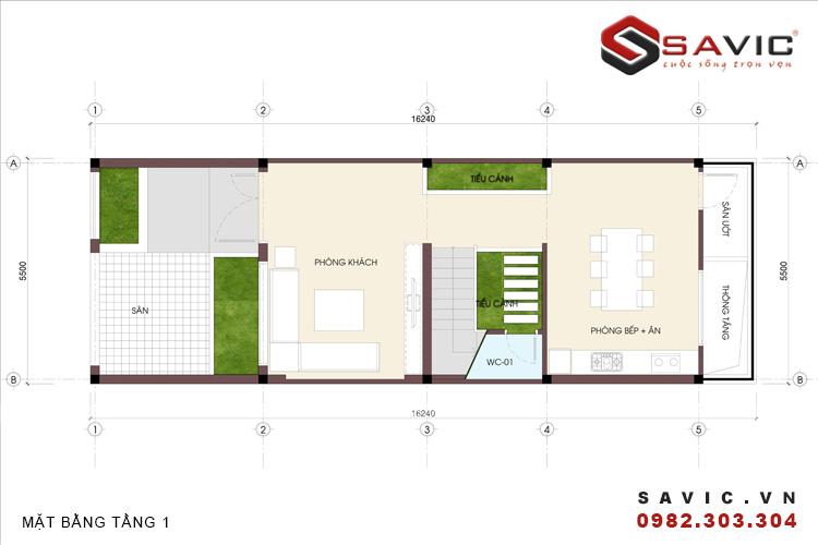 Mặt bằng tầng 1 mẫu nhà phố đẹp 3 tầng nổi bật với diện tường ốp gạch Inax NO1506