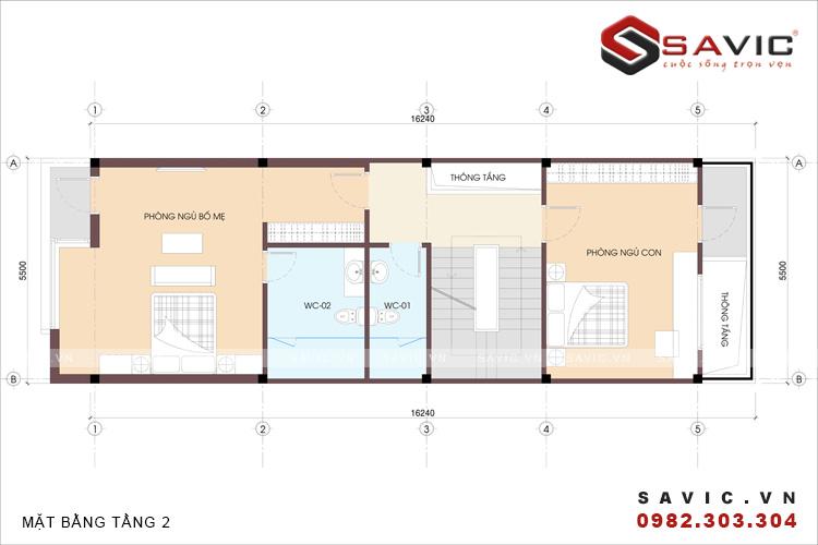 Mặt bằng tầng 2 mẫu nhà phố đẹp 3 tầng nổi bật với diện tường ốp gạch Inax NO1506