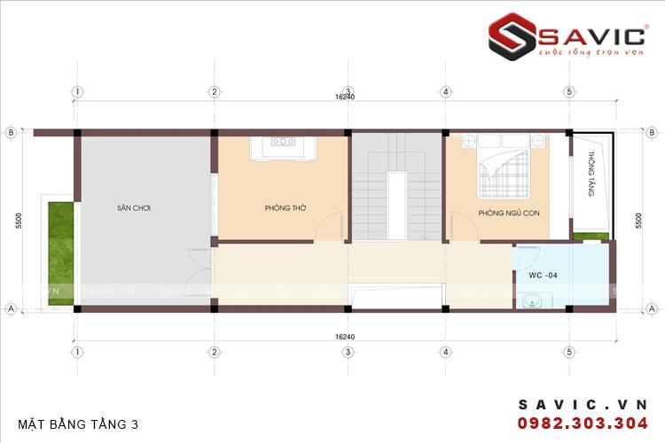 Mặt bằng tầng 3 mẫu nhà phố đẹp 3 tầng nổi bật với diện tường ốp gạch Inax NO1506