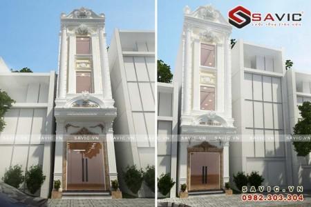 Mẫu thiết kế nhà biệt thự phố đẹp 3 tầng phong cách cổ điển NO1602