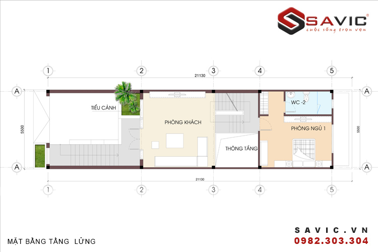 Mặt bằng tầng lửng mẫu nhà phố đẹp 4 tầng NO1502