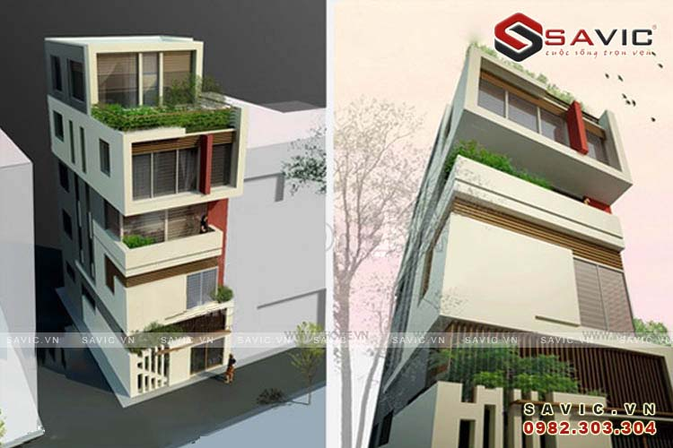 Mẫu nhà phố đẹp 5 tầng hiện đại thiết kế hình khối NO1505