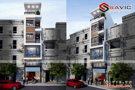Mẫu nhà phố đẹp 5 tầng phong cách hiện đại tiện nghi NO1501