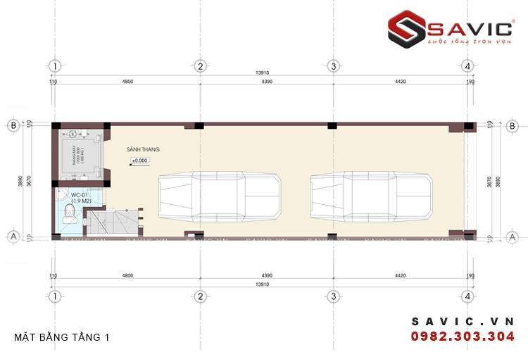 Mặt bằng tầng 1 mẫu nhà phố đẹp 5 tầng NO1401