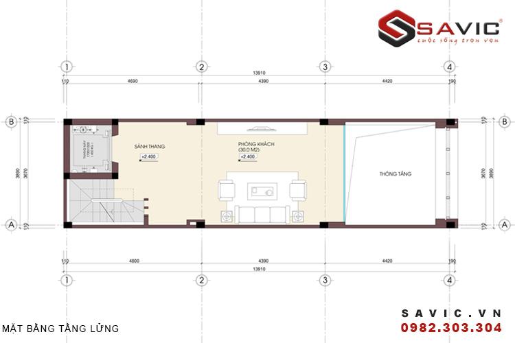 Mặt bằng tầng lửng mẫu nhà phố đẹp 5 tầng NO1401