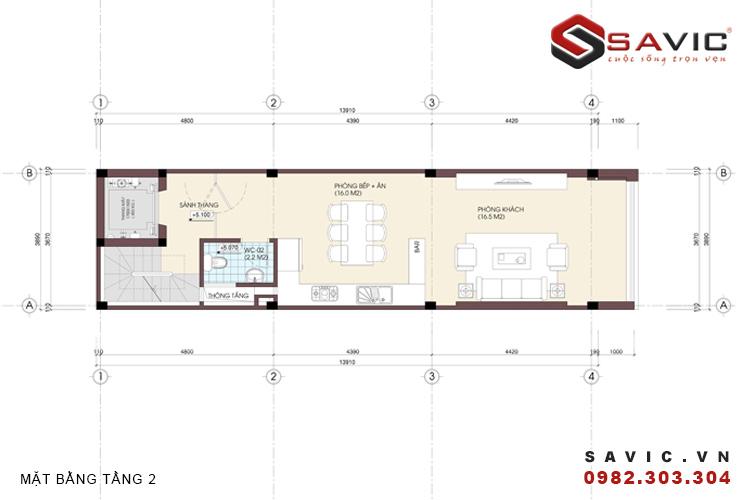 Mặt bằng tầng hai mẫu nhà phố đẹp 5 tầng NO1401