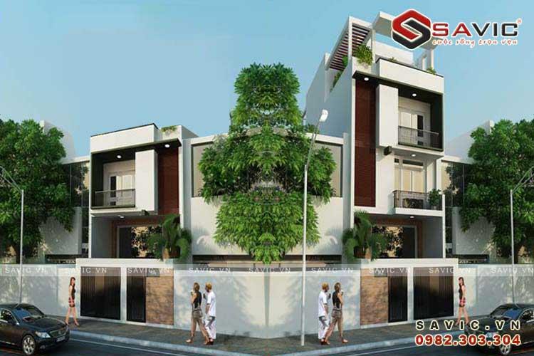 Phối cảnh góc nhìn mẫu nhà phố đẹp 5 tầng phong cách hiện đại NO1504