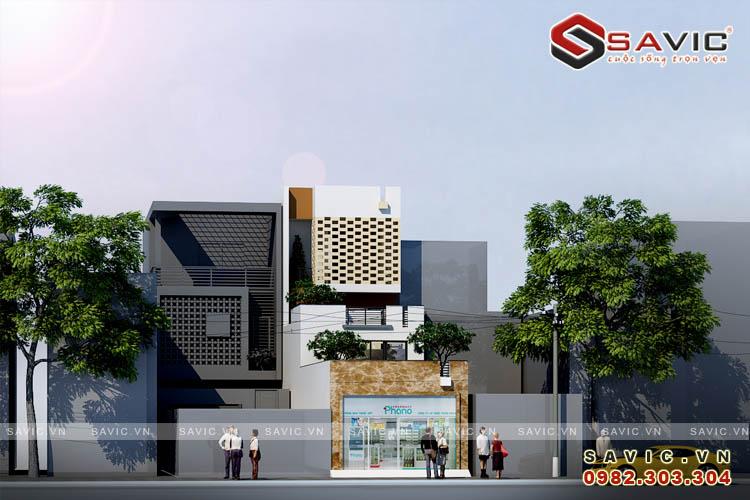Góc nhìn chính diện nhà phố 3 tầng kết hợp kinh doanh nhà hàng quán ăn NO1601