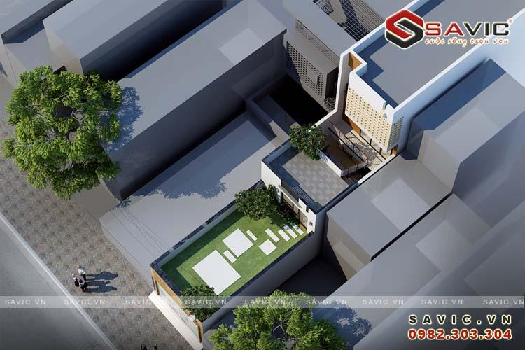 Góc nhìn trên cao nhà phố 3 tầng kết hợp kinh doanh nhà hàng quán ăn NO1601