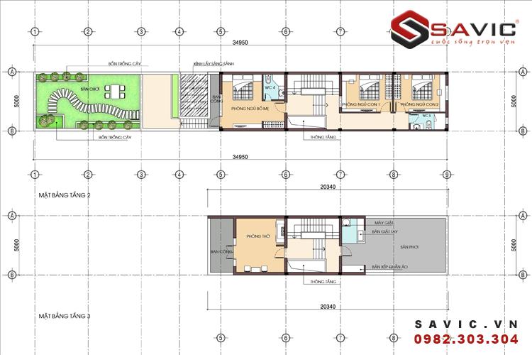 Mặt bằng công năng tầng 2 và tầng 3 mẫu nhà phố đẹp NO1601
