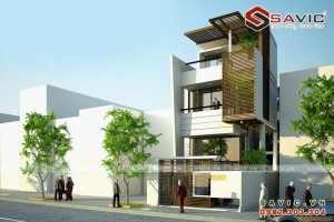 Mẫu thiết kế nhà biệt thự phố hiện đại 3 tầng NO1603