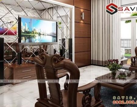 Thiết kế trang nhã với mẫu nội thất biệt thự kết hợp vật liệu gỗ NTB1503