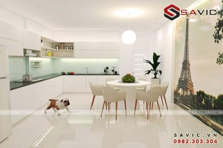 Nội thất nhà phố đẹp nhẹ nhàng thanh thoát với gram màu trắng NTO1508
