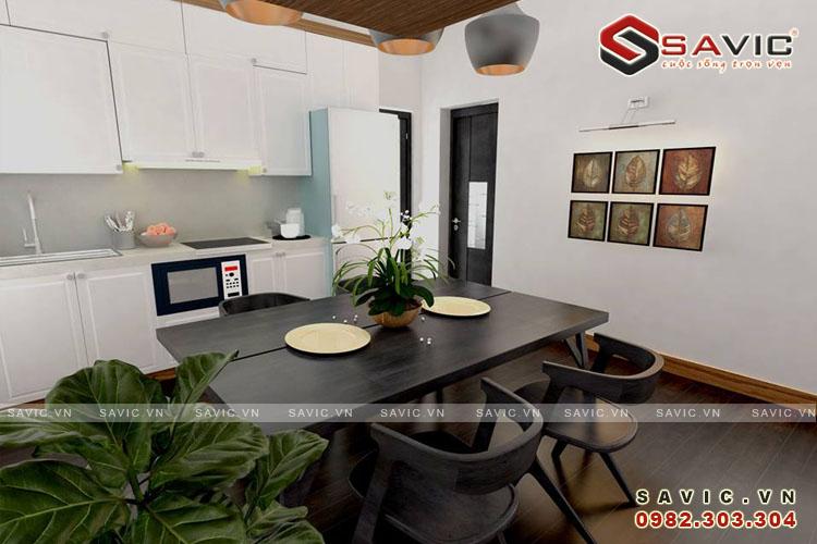 Không gian nội thất phòng bếp ăn chung cư NTC1509