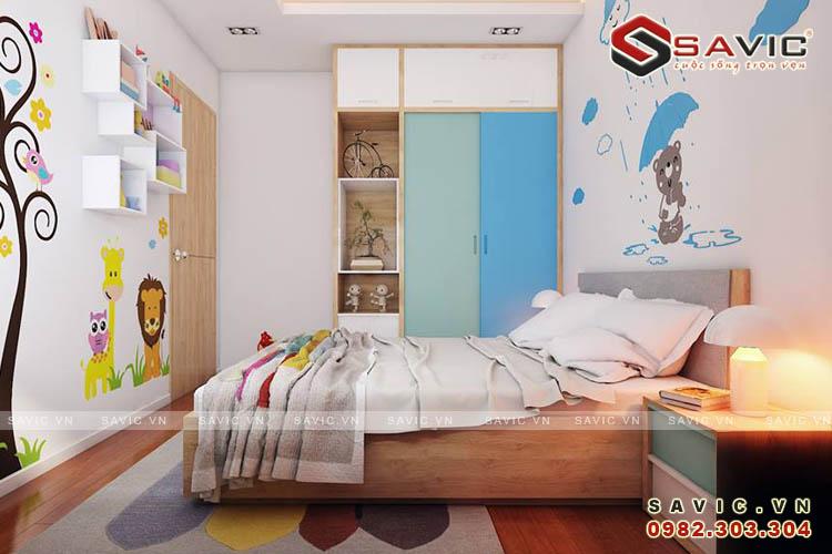 Không gian nội thất phòng ngủ 1 chung cư NTC1509