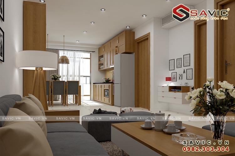 Thiết kế nội thất chung cư đẹp phòng khách và bếp ăn NTC1507