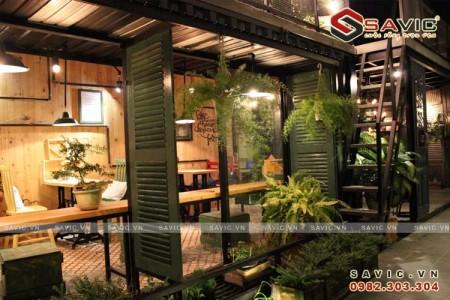 Nội thất quán cafe đẹp tràn ngập trong không gian xanh NTV1502