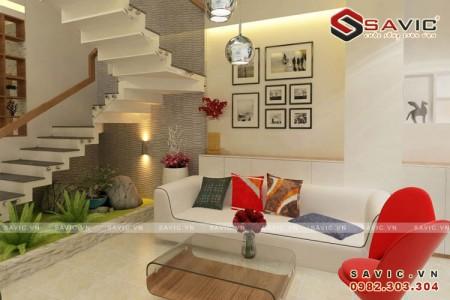 Đẹp hoàn hảo với mẫu nội thất phòng khách nhà phố hiện đại NTO1505