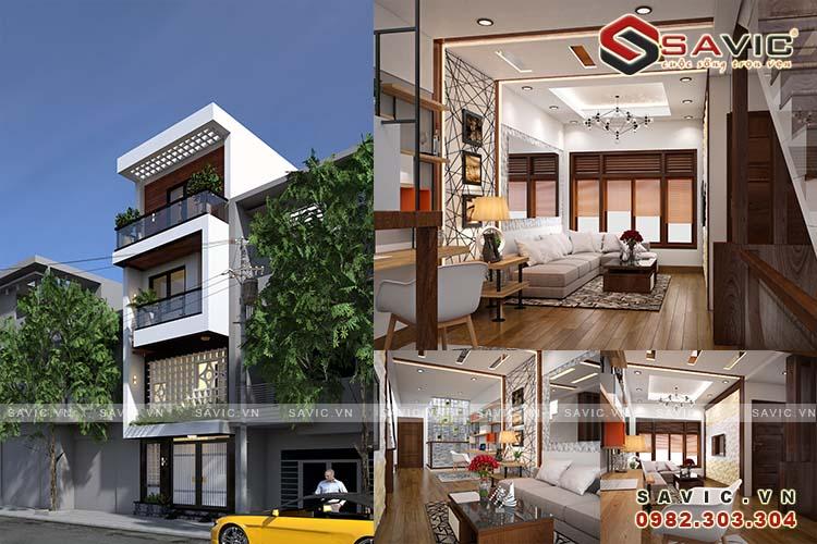 Phối cảnh và nội thất bên trọng mẫu nhà phố 4 tầng NO1606