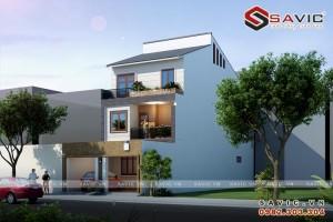 Thiết kế biệt thự phố đẹp 3 tầng diện tích đất 6 x 22m BT1586