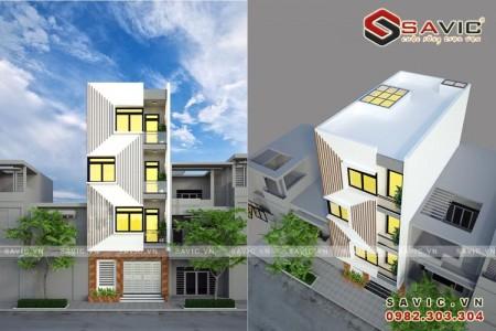 Thiết kế mặt tiền độc đáo nhà phố 4 tầng hiện đại NO1607