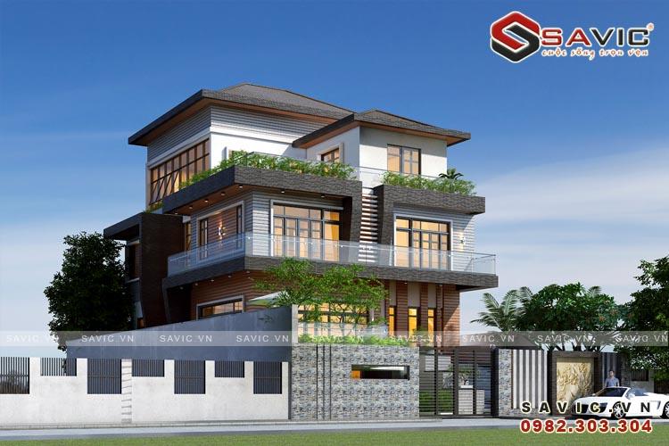 Thiết kế biệt thự 4 tầng đẹp sang trọng mang phong cách hiện đại BT1631