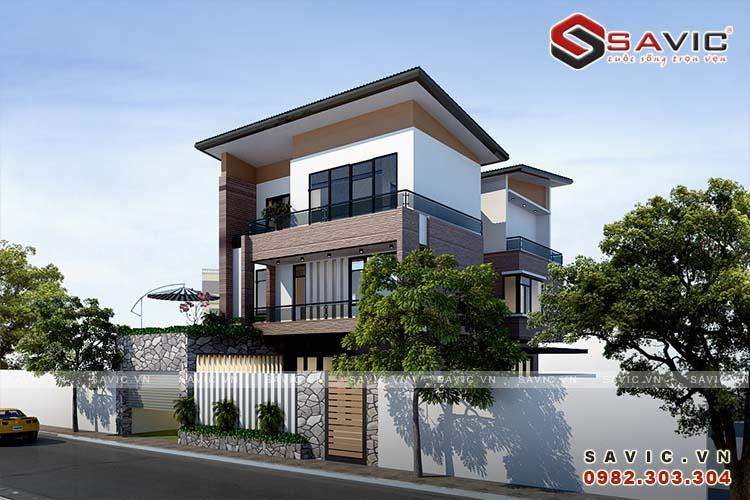 Chiêm gưỡng vẻ đẹp phong cách hiện đại mẫu biệt thự 3 tầng BT1627