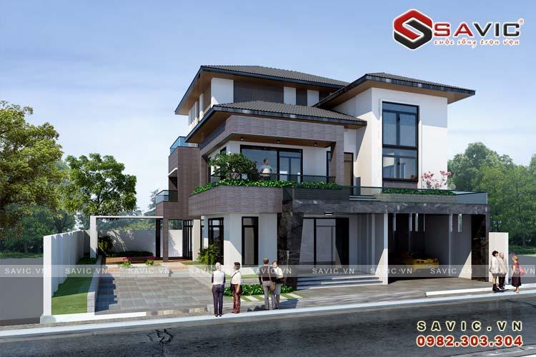 Phối cảnh mặt tiền mẫu thiết kế biệt thự 4 tầng BT1632