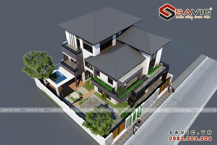 Phối cảnh trên cao mẫu thiết kế biệt thự 4 tầng BT1632
