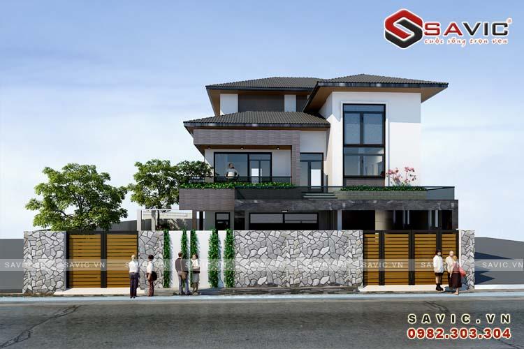 Thiết kế biệt thự 4 tầng hài hoà giữa những gam màu hiện đại BT1632