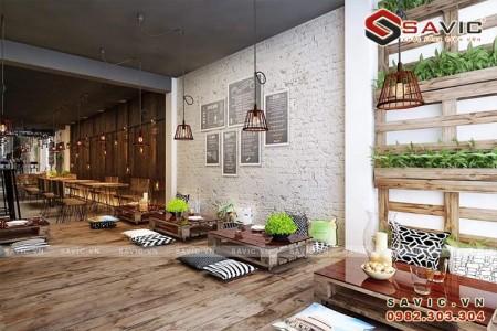 Mẫu thiết kế nội thất quán cà phê NT1507 thư giãn hòa quyện với thiên nhiên