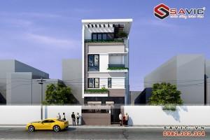 Mẫu nhà phố 5 tầng NO1609 nhẹ nhàng sang trọng