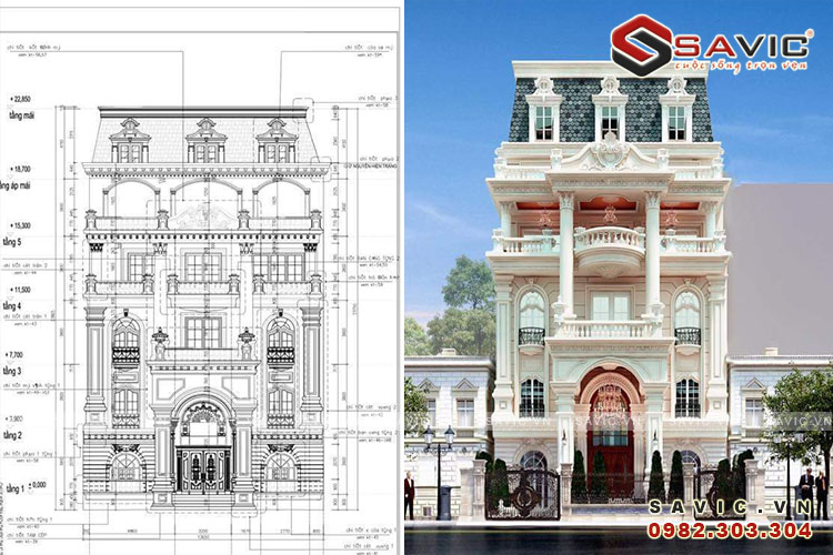 Mẫu biệt thự 5 tầng BT1643 mang phong cách cổ điển sang trọng