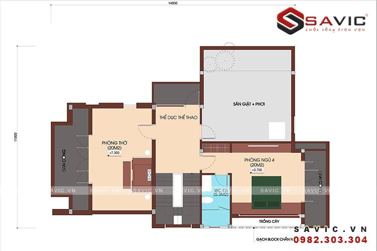 mặt bằng tầng 3 của biệt thự 3 tầng BT1647