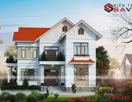 Bản thiết kế nhà đẹp 2 tầng 1 tum mái thái hiện đại BT1811