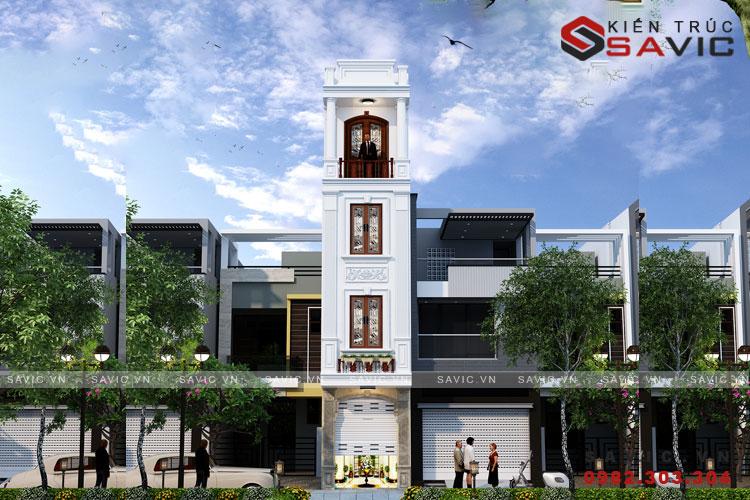Bản vẻ nhà phố 4 tầng thiết kế kiểu tân cổ điển N01802