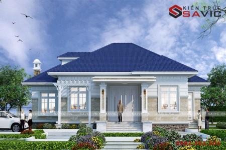 Biệt thự nhà vườn 1 tầng thiết kế kiểu tân cổ điển mái thái BT1804
