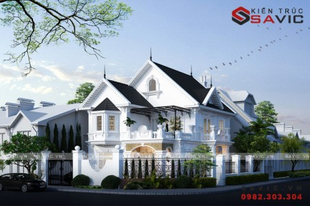 Biệt thự phố 2 tầng 1 tum mái thái tân cổ điển BT1806