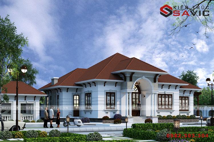 Mẫu nhà 1 tầng 4 phòng ngủ 150m2 mái thái  mức đầu tư khoảng 1,5 tỷ BT1805