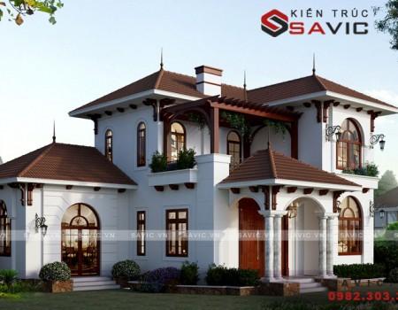 Say đắm mẫu thiết kế nhà biệt thự đẹp 2 tầng tân cổ điển BT1808
