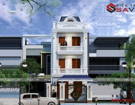 Mẫu thiết kế nhà phố 3 tầng 4 phòng ngủ tân cổ điển NO1801