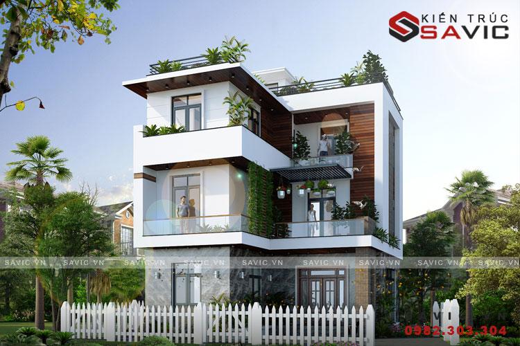 Thiết kế nhà biệt thự 3 tầng hiện đại gần gủi thiên nhiên BT1802
