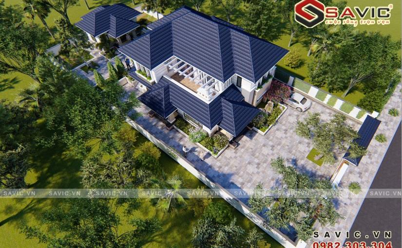 Biệt thự 2 tầng hiện đại mái xanh bt1815 sang trọng