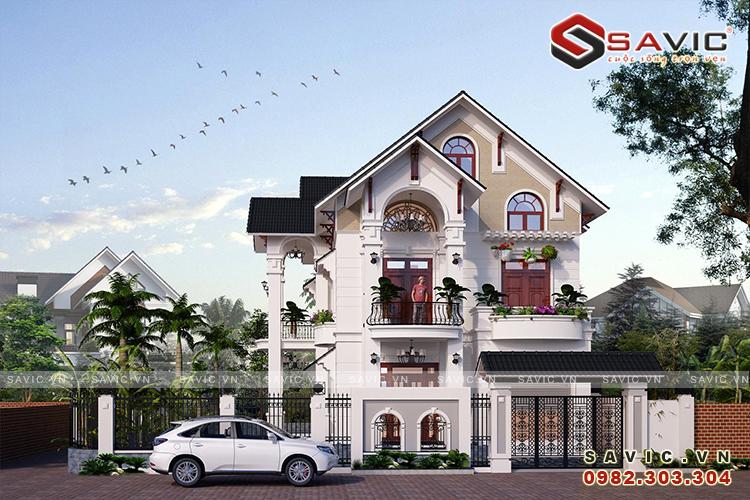 Mẫu nhà 2 tầng mái thái 120m2 thiết kế hiện đại tone trắng sang trọng BT1816