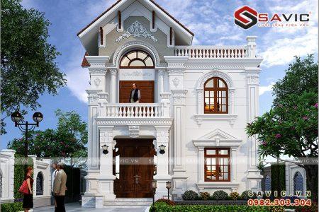 Biệt thự 2 tầng BT1819 trắng tinh khôi mái đỏ đầy ấn tượng