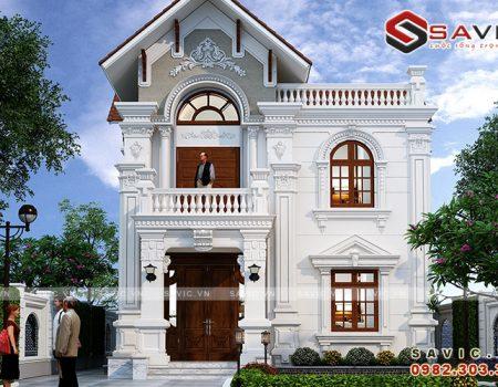 Biệt thự 2 tầng 100m2 mặt tiền 8m trắng tinh khôi mái đỏ ấn tượng BT1819