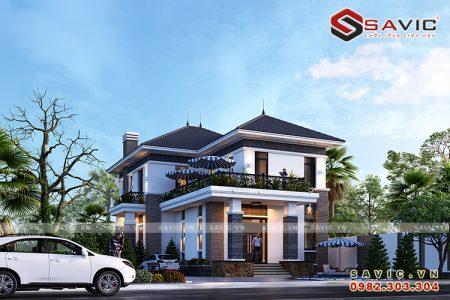 Biệt thự 2 tầng mái thái BT1821 Mang phong cách hiện đại bố cục hài hòa