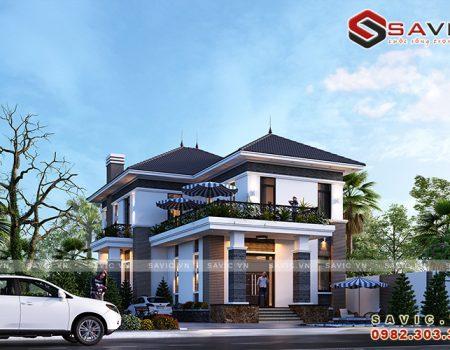 Biệt thự 2 tầng mái thái 130m2 phong cách hiện đại bố cục hài hòa BT1821